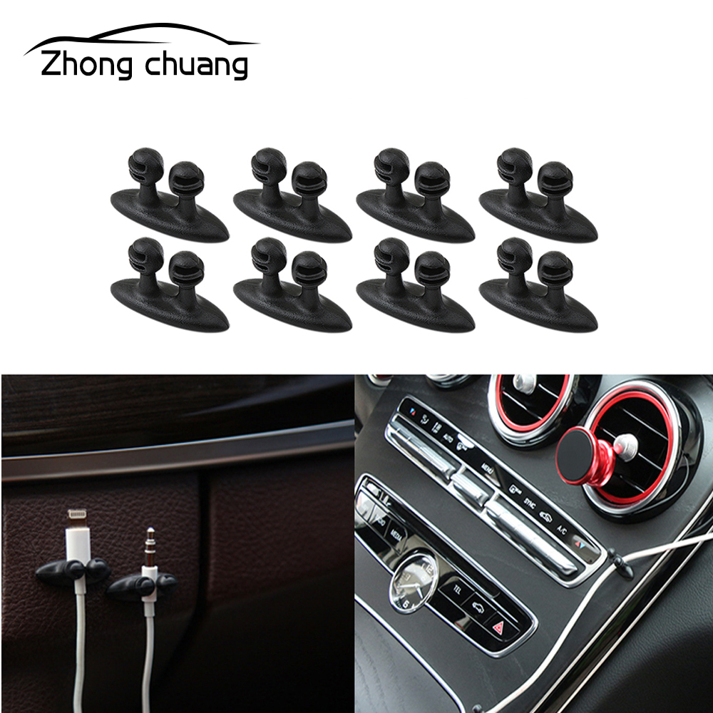 8PCS mini car charger wire button headset / USB cable car clip car interior accessories