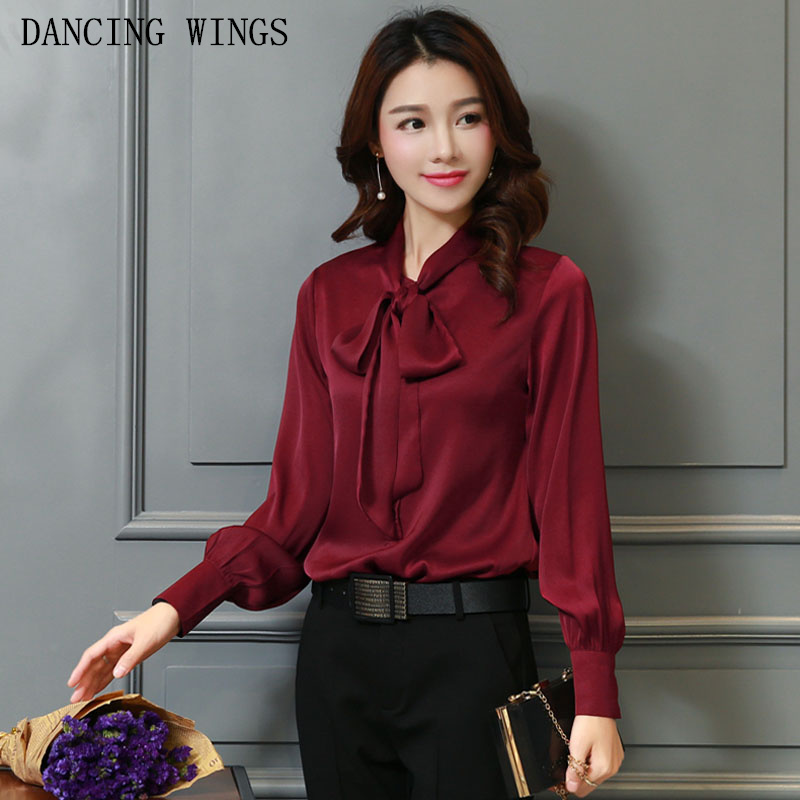 Bowtie Design OL Shirt 2018 spring women's elegant solid color silk blouse loose plus size long sleeve tops