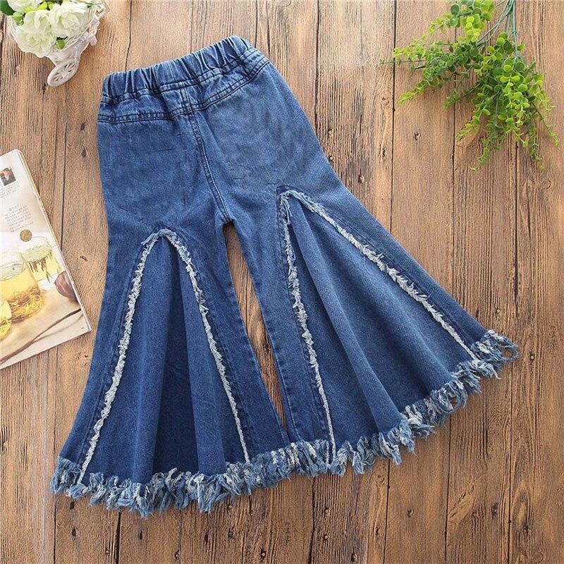 Babykleidung Mädchen Trendmarkierung Kinder Quaste Denim Kleidung Jeans Hosen Elastische Taille Casual Gedruckt Kleinkind Hosen Mädchen Hosen Kleinkind Kinder Baby Mädchen Jungen