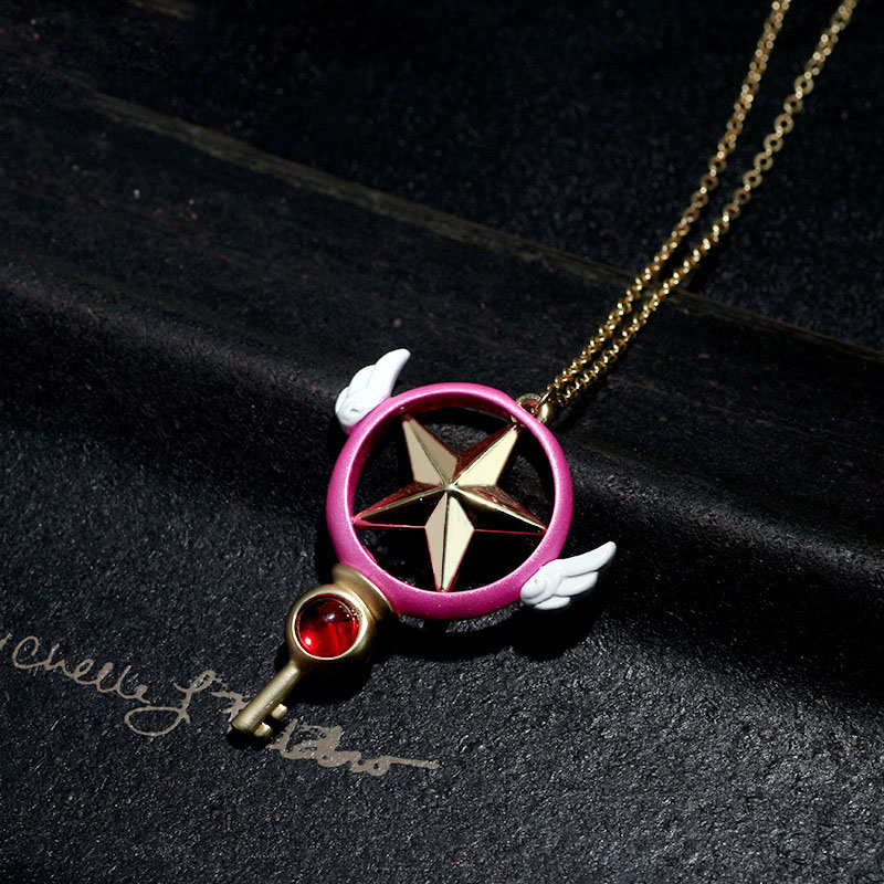 Card Captor SAKURA star magic wand necklace Valentines Day girl gift