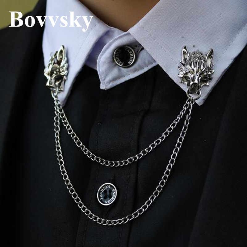 Bovvsky Uomini nappa spilla pin Testa di Lupo Spilla Personalità Vestito Pins Spille Gioielli Da Uomo Catena Animale Brochs Spilla 1 coppia