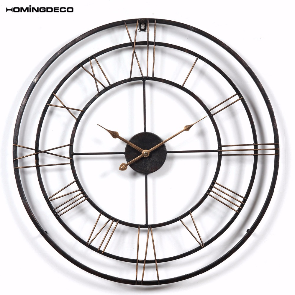 Homingdeco 24 Inch 3d Large Wall Clock Vintage Vintage Style Hollow
