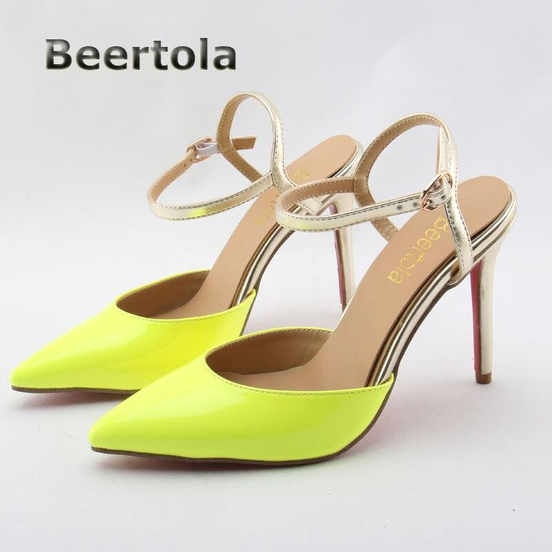 7485340307c6b2 De femmes Sexy Sandale Stiletto Talons Beertola Mode Jaune Sandales Femmes  Chaussures Bout Pointu Bride à La Cheville Pompes À Talons Hauts Sandales  dans ...