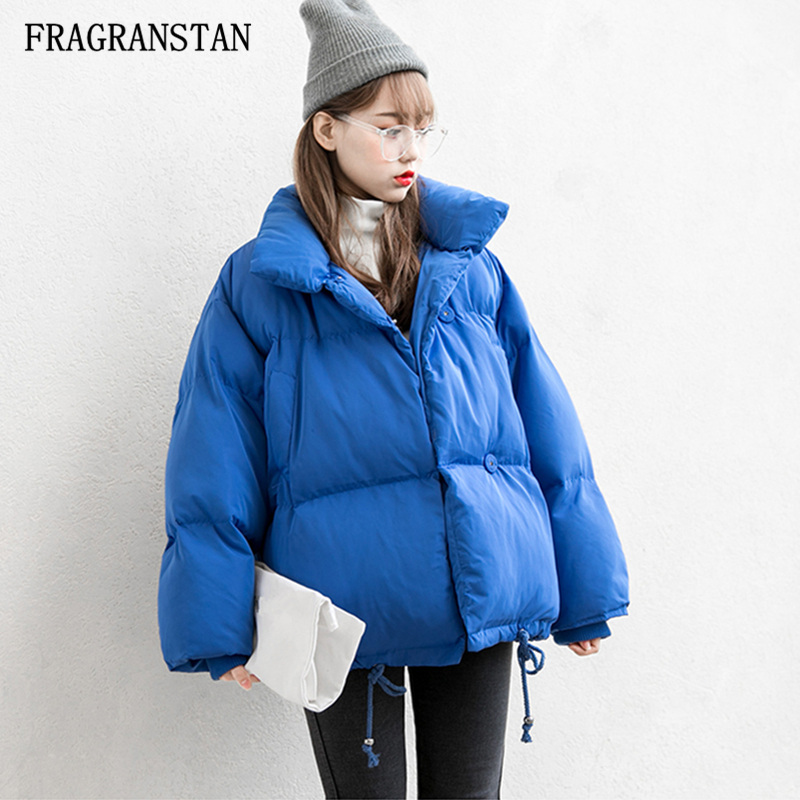 Lady 2017 Winter New Thick Keep Warm Stand Collar Padded Jacket Female Fashion Casual Solid Color Short High Quality Parkas Q240