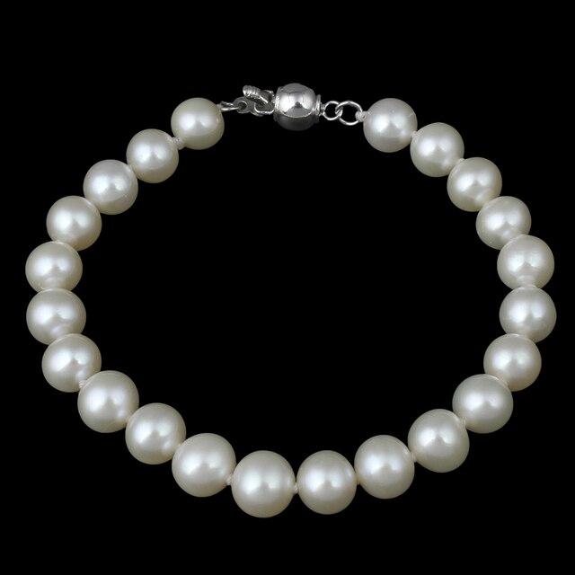 "Freshwater Pearl Bracelet Designer Jewelry Natural Real White Pearl 6-7mm Beads Bracelets 6"" AA Grade Wedding Jewelry Bracelets"