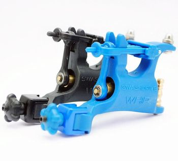 New 2x Pro Black&Blue  Professional WHIP Plastic Rotary Tattoo Supply Machine Gun For Shader & Liner