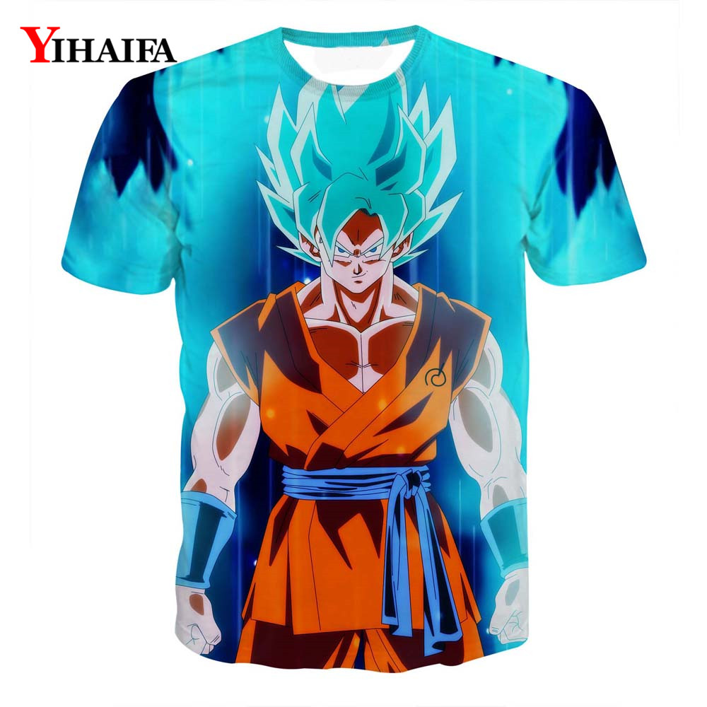 T shirt 3D Print Fashion Blue Hair Goku Vegeta Dragon Ball Z Anime Casual Tee Shirts Men Graphic Tee Unisex Summer Tops(China)