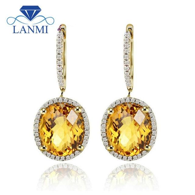 Beautiful Citrine Earrings Oval 12x10mm Solid 14kt Yellow Gold Diamond Gemstone Jewelry For Women E0003