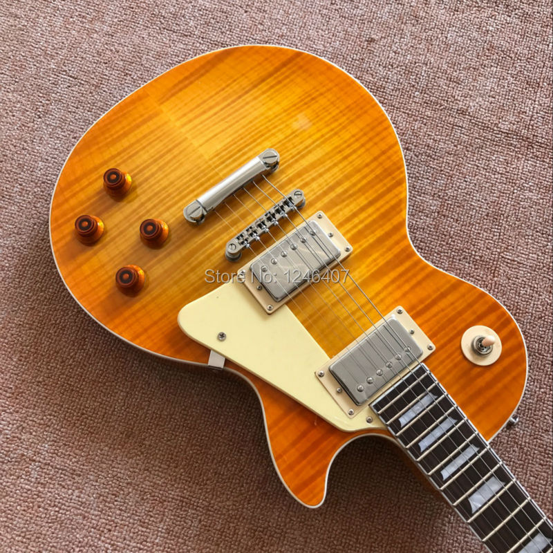 EMS free delivery 1959 R9 tiger flame Paul electric guitar, electric guitar standard LP 59 stock in stock 1959 r9 honey burst chinese lpaul lp style standard electric guitar with ems free shipping