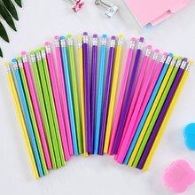 100pcs 나무 연필 캔디 컬러 삼각형 연필 지우개와 함께 귀여운 아이 학교 사무실 쓰기 용품 드로잉 연필 흑연