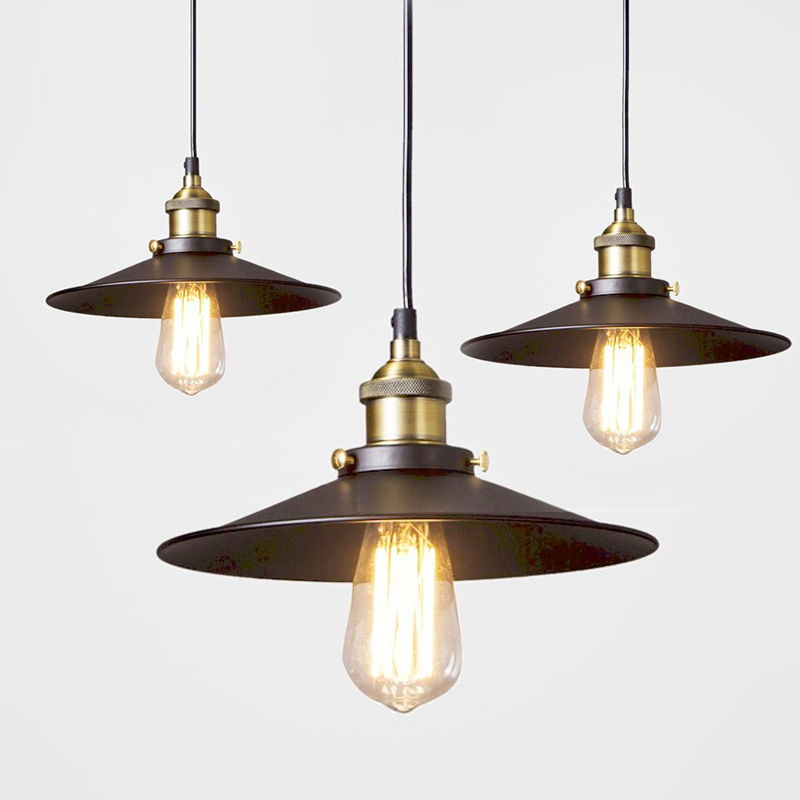 Loft American Vintage Pendant Lights Copper Lamp Holder E27 110 220V Antique Pendant Lamp for Home