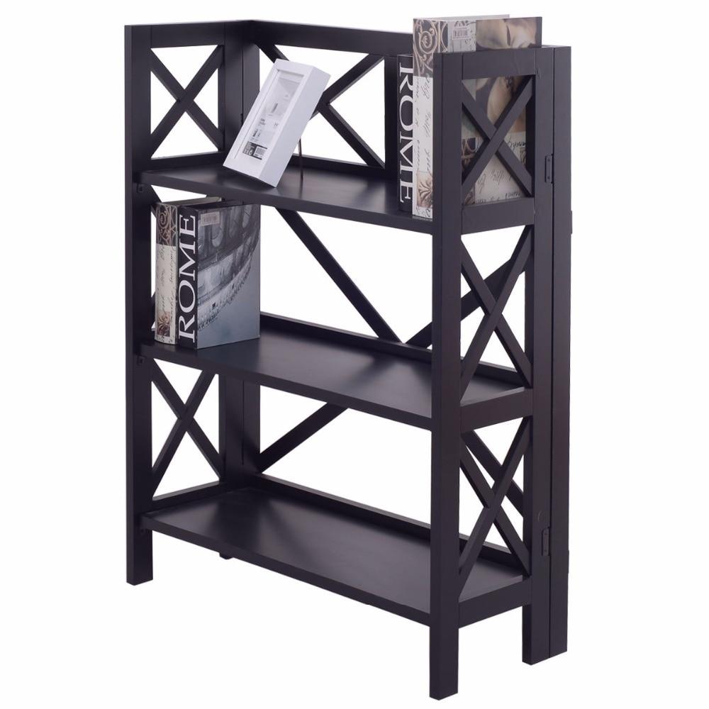 Goplus 3 Niveaux Étagère Pliante Moderne Stockage De Bibliothèque En Bois Affichage Organisateur Pour Salon Accueil Étagères HW55638