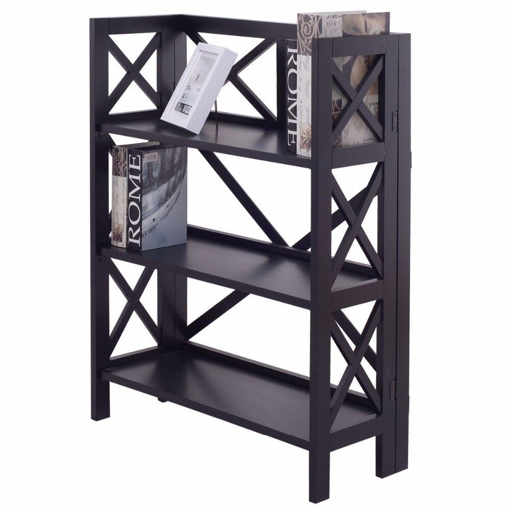 Goplus 3 Tiers Stacking Folding BookShelf Modern Wood Bookcase Storage Display Organizer For Living Room Home Shelves HW55638