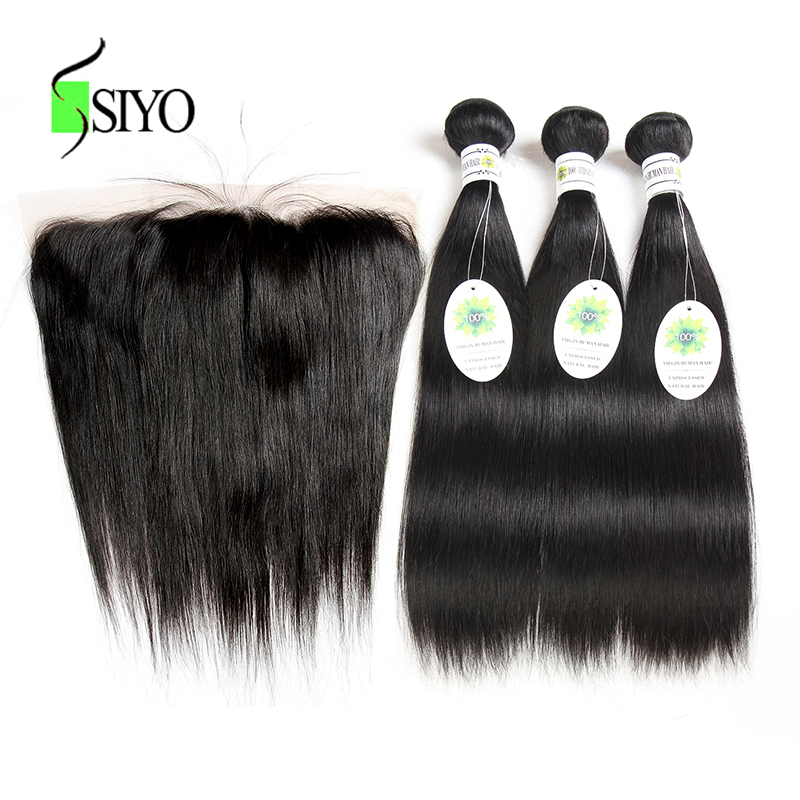SIYO Hair Brazilian Straight Hair Bundles With Frontal 13*4 Natural Color Non-remy Human Hair 3 Bundles With Closure Free Part ...