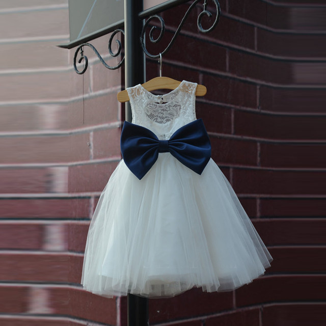 Hot Rustic Ivory Lace Navy Blue Sash Bow Flower Girl Dress White Country Toddler Wedding Baptism Tulle Girls Pageant Dresses