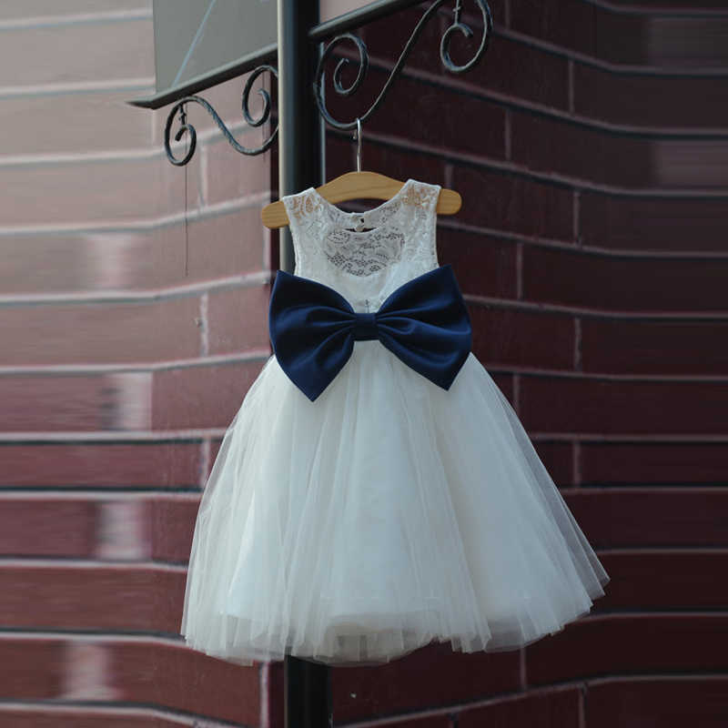 a662b3b98 ... Hot Rustic Ivory Lace Navy Blue Sash/Bow Flower Girl Dress White Country  Toddler Wedding ...