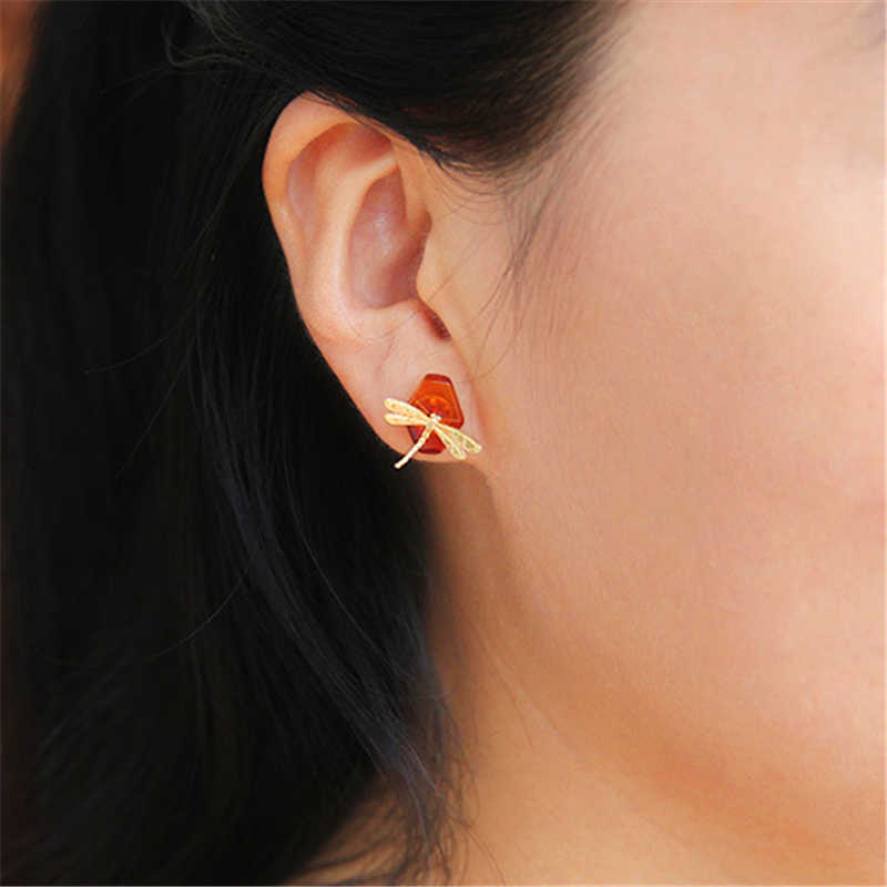 68826f6e1 ... Lotus Fun Real 925 Sterling Silver Natural Amber Original Handmade Fine  Jewelry Cute Dragonfly Stud Earrings ...