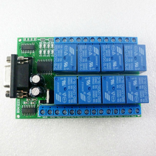 Dc 12v 8 channel rs232 relay board pc usb uart db9 remote control dc 12v 8 channel rs232 relay board pc usb uart db9 remote control switch for plc sciox Images