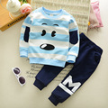 2017 New fashion Children Clothing sets stripe puppy kids boys clothes 2 pieces sport suit sweatshirts spring baby boys clothing
