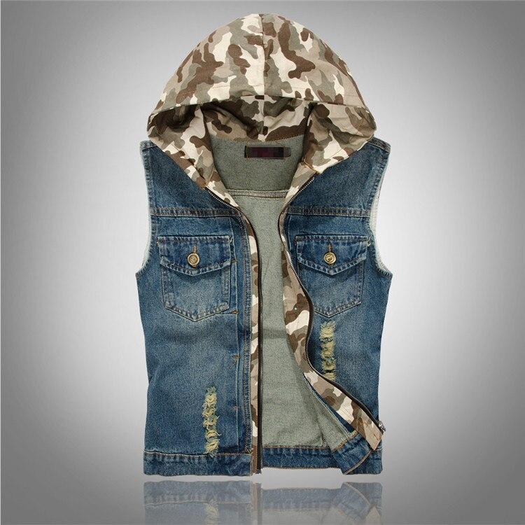 Hommes Vintage Ripped Jeans Homme À Capuche Gilet Occasionnel Mâle Denim Gilet Avec Multi Poche Sans Manches Veste Masculino Colete XXXL