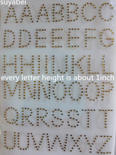 2 sheet/lot 88pc English letter design stones hot fix rhinestone motif designs iron on applique patch