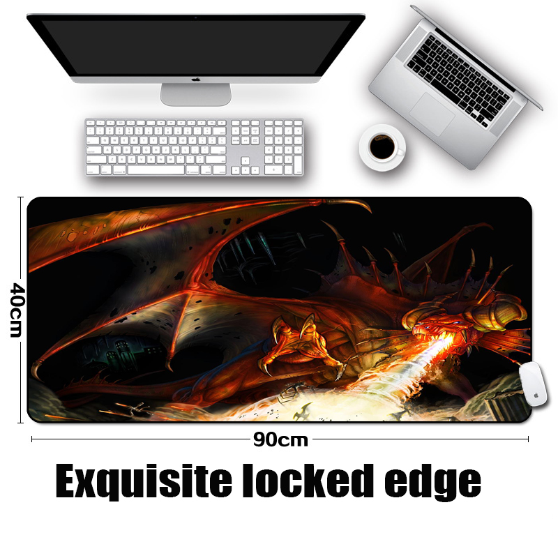 Mairuige Destruction of The Worlds Dragons Art Patterns Gaming Mousepad Laptop Pc Table Mice Mat Pad Large Size 400x900MM