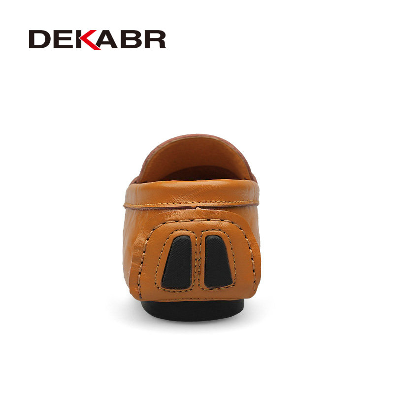 Image 3 - Мужские туфли из натуральной кожи DEKABR, желто коричневые мягкие мокасины, модная брендовая удобная обувь на плоской подошве для вождения, весна осень 2019shoes brandshoes fashionshoes quality -