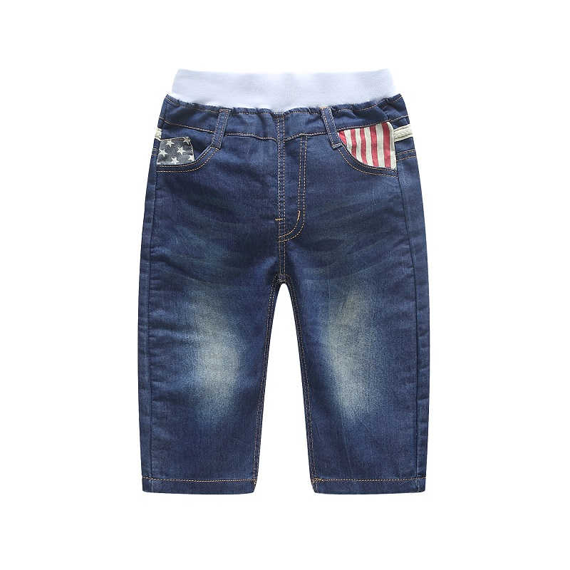 DIIMUU Children Clothes Boys Jeans Summer Cropped Denim Pants Washed Elastic Waist Patchwork Casual Trousers Bottoms for 4 8T in Jeans from Mother Kids
