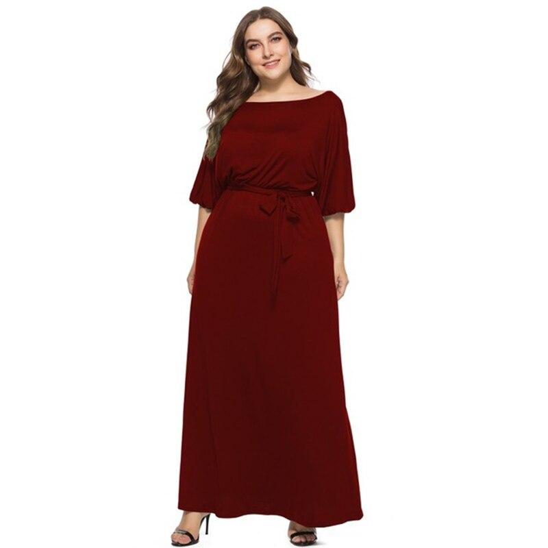 Plus Size Bandage Dress Women Autumn Slash Neck Half