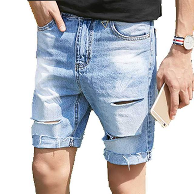 Aliexpress.com : Buy Men's Ripped Destroyed Jeans Shorts Holes Cut ...