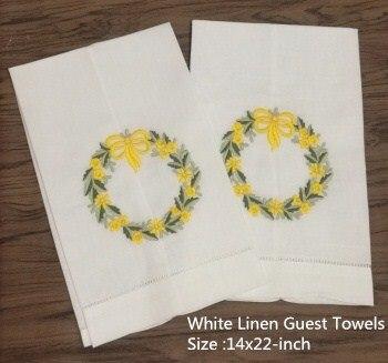 Set Of 12 Home Garden Hand Towels Linen Hemstitched Tea Towel 14
