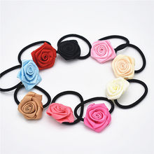 1pcs Women girls hair elastic bands rose Tiaras of flowers of crystal ribbon cloth big peals children hair accessory(China)
