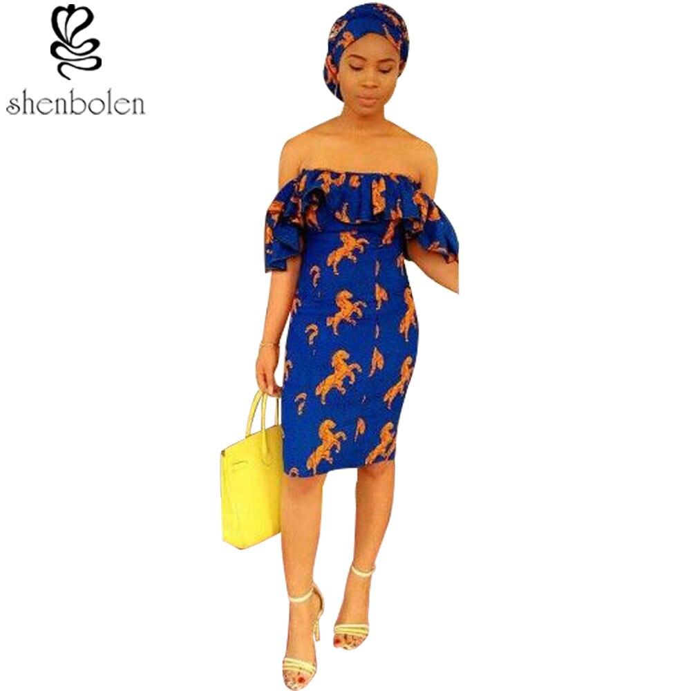 New Fashion Design 2017 African Batik Word Shoulder Dress African Traditional Dress Blue Ladies