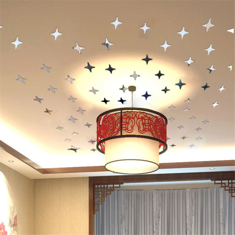 50pcsset Mirror Star Shape Wall Sticker Acrylic Silver Color Home
