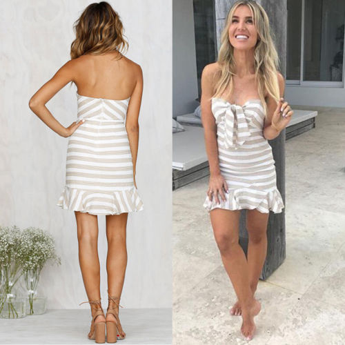 Fashion Women Summer Dress 2018 New Sleeveless Strapless Evening Party Striped Beach Short Mini Dress