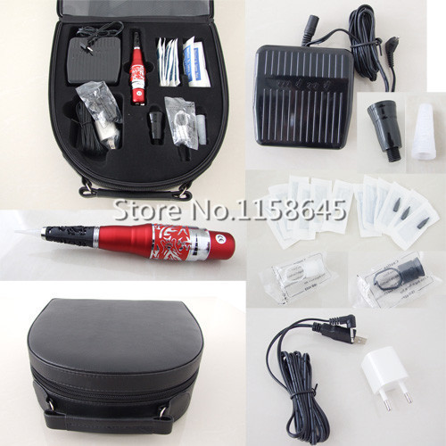 1 Sets Professional Tattoo Permanent Makeup Kit Durable Hanpiece Pen For Eyebrow Lips + Needles Tips Case Cosmetic Supply Hot #j professional permanent makeup tattoo eyebrow pen machine 50 needles tips power supply set us plug drop shipping wholesale