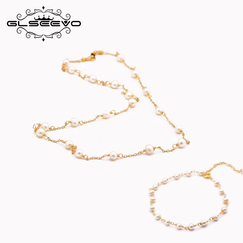 GLSEEVO naturel eau douce perle pour les femmes de mariage fiançailles collier Bracelet ensemble 925s Dubai bijoux ensembles GS0019