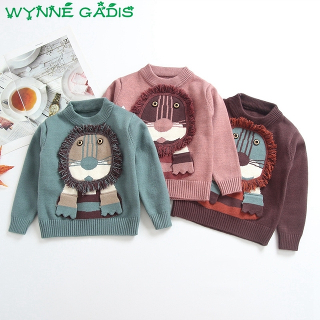 293ad8813 WYNNE GADIS Winter Children Boys Long Sleeve O Neck Cartoon Lion ...