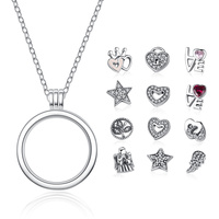 BAMOER New Collection Genuine 925 Sterling Silver Medium Floating Locket Necklaces Pendants Sterling Silver Jewelry PSF001