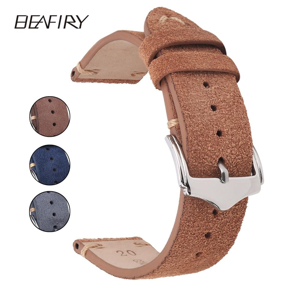 BEAFIRY Genuine Leather Watch Band 18mm 20mm 22mm Dark Brown Dark Blue Light Brown Grey Suede  Leather Watch Straps
