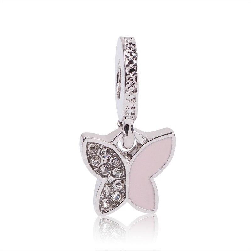 2018 DIY Autumn 925 Silver Charm Fit Pandora Charm Original Bracelet Fluttering Butterflie Pendant CZ Beads Cute Lovely Beads