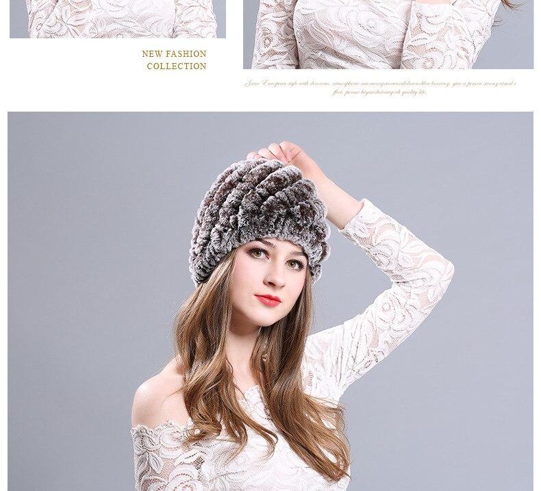 Women Genuine Knitted Rabbit Fur Hats For Women Real Fur Beanies Rex ... c5f255b27dfb