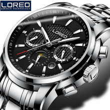 LOREO Sapphire Glass Automatic Men'S Watch 50M Waterproof Luminous Auto Date Erkek Kol Saati Christmas Gift Father Day Gift K60