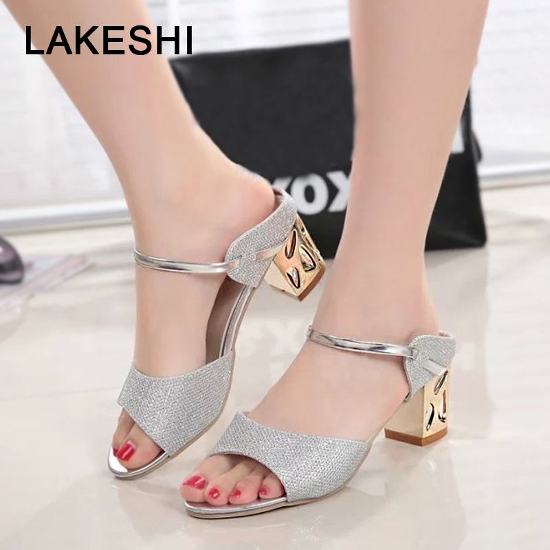 цены LAKESHI Ladies Sandals 2018 Square Heel Women Sandals Summer Women Shoes Gold Sliver Shoes Woman Peep Toe Sexy Low Heel Sandals