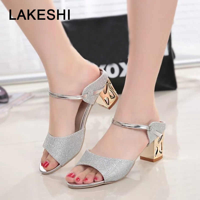 LAKESHI Ladies Sandals 2018 Square Heel Women Sandals Summer Women Shoes Gold Sliver Shoes Woman Peep Toe Sexy Low Heel Sandals