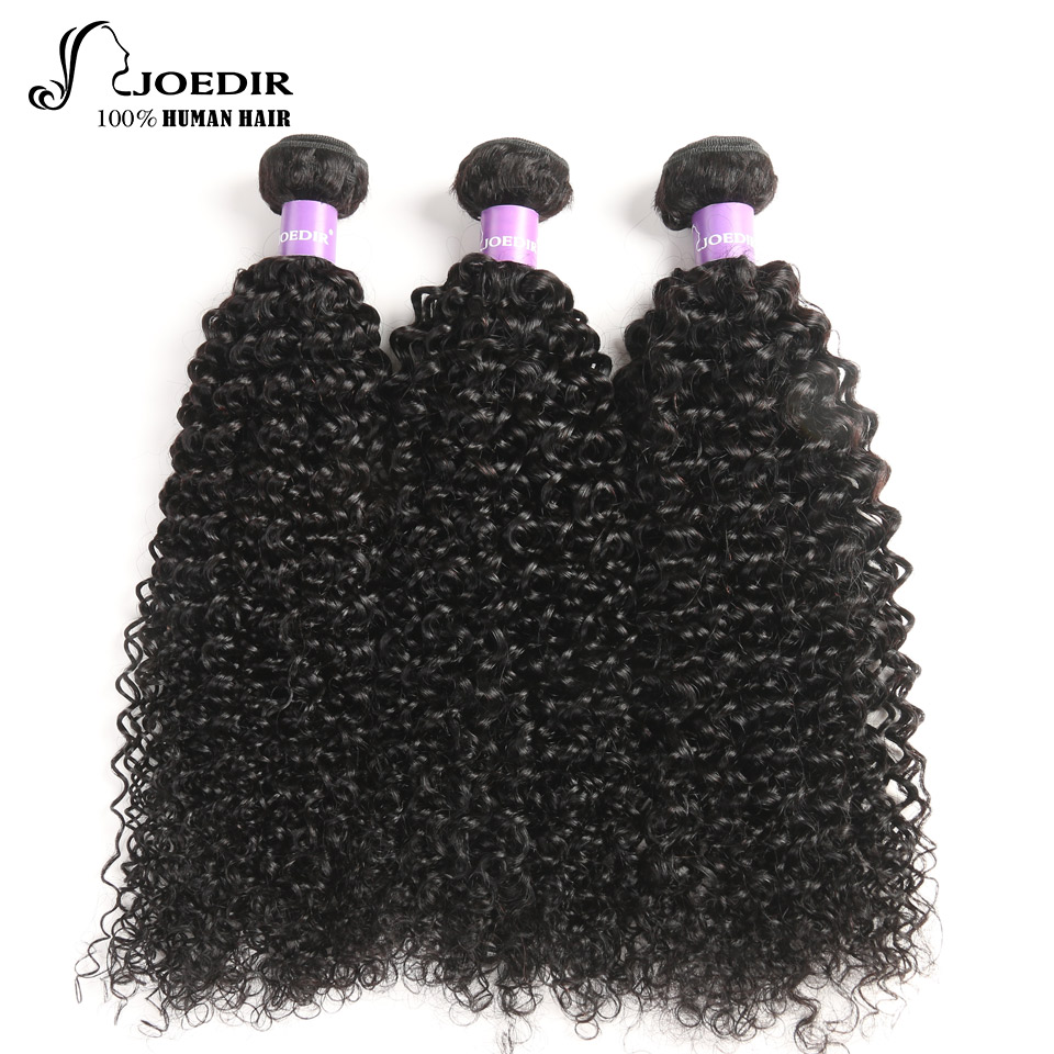 Joedir Pre-Colored Indian Kinky Curly Hair Bundles Non Remy Hair Extensions 3 pcs Human Hair Extensions Bundles Deals Free Ship