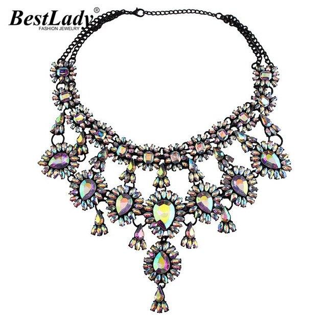 Best lady 2016 recién llegado de lujo collar shourouk declaración beads maxi gema buena calidad joyas b134