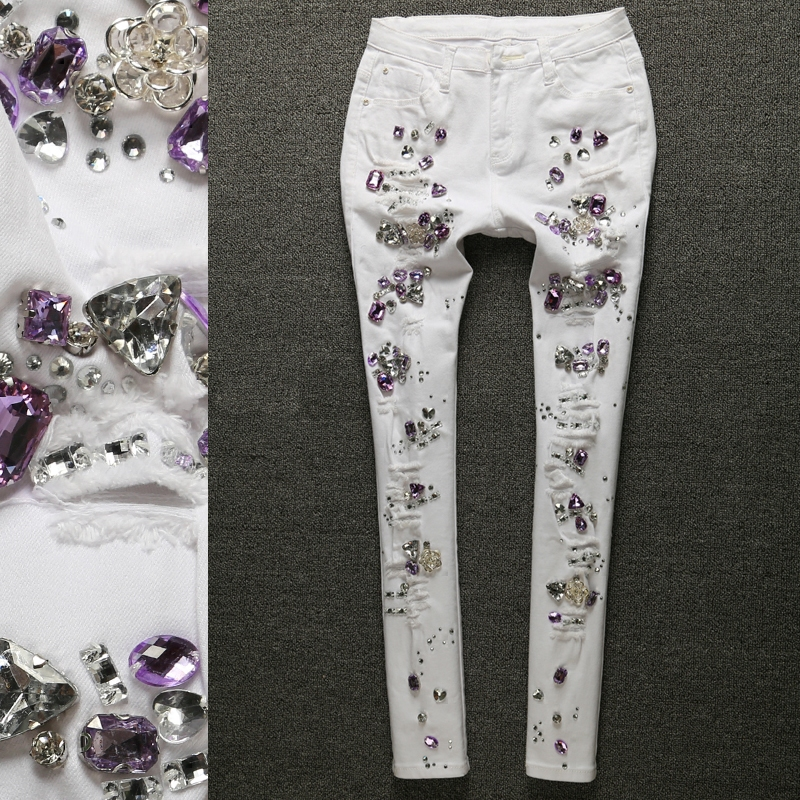 Spring Autumn Cotton Women Rhinestones Diamond Denim Jeans Slim Stretch Pencil Skinny Jeans White Ripped Jeans Plus Size 25-31