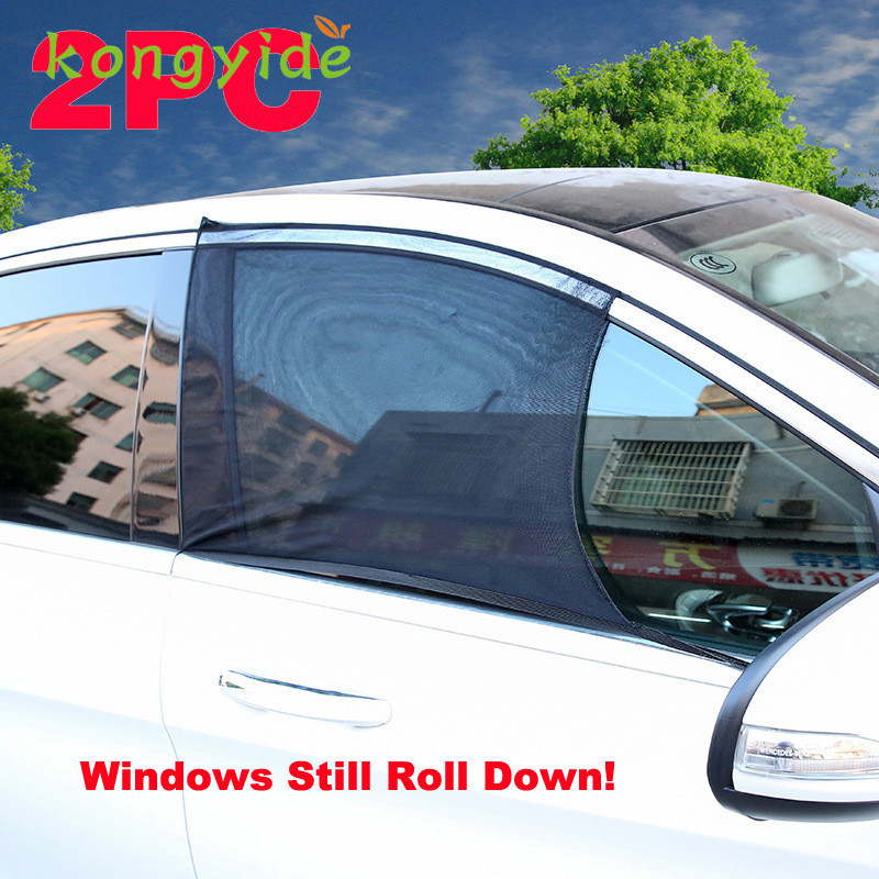 2017 new 2x car front window uv mesh sun shades blind kids children sunshade blocker black