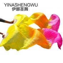 Dans Accessoires Buikdansen Zijde Fans Stage Performance 100% Zijde Buikdans Fans Gradiënt Kleurrijke